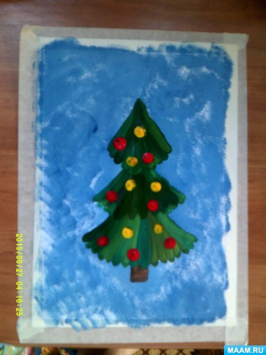 Рисование праздничная елочка средняя группа