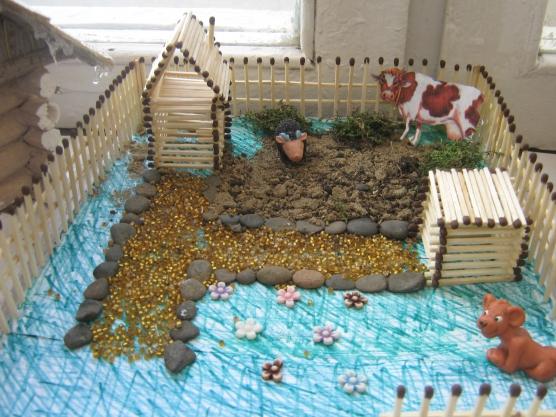 Поделки домиков с двориком 70