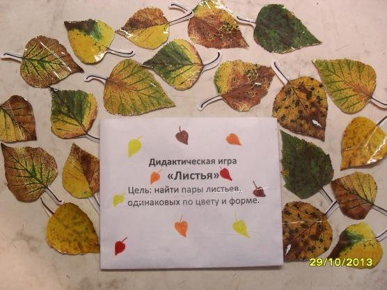Дидактическая игра «Листья».