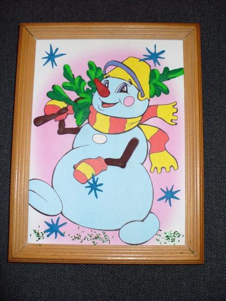 Снеговик. Комбинированная поделка.