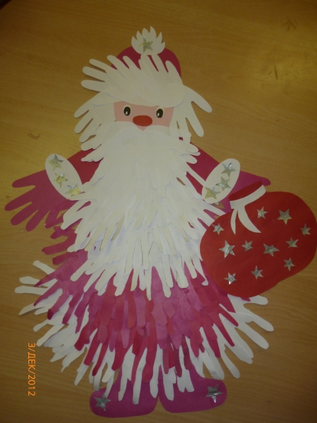 Дед мороз и снегурочка из ладошек своими руками