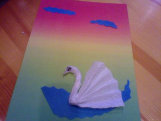 Открытка своими руками с лебедями 90