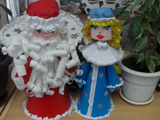 Дед мороз снегурочка своими руками бумаги фото