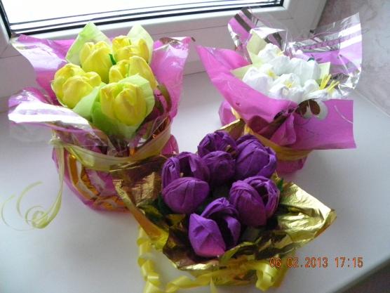 Крокусы конфет гофрированной бумаги своими руками фото 522