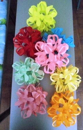 Цветочный шар в технике киригами.