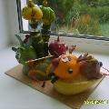 Поделка из овощей и фруктов «Смешарики на озере»