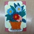Аппликация из ниток «Цветы для мамы»