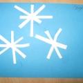Белые снежинки. Аппликация в средней группе.