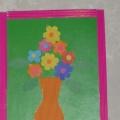 Открытка «Весенний букет» Работа с бумагой (аппликация), для детей среднего дошкольного возраста.