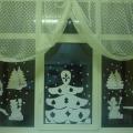 Снежная картина на окне.