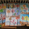 Рисование отпечатками листьев