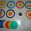 Дидактическая игра «Помоги спрятать» на различение формы и цвета.