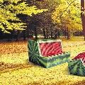Новые дизайнерские скамейки на пейзажной аллее