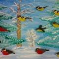 «Зимующие птицы». Коллективная работа. Пластилинография.