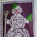 Снеговик с элементами скрапбукинга