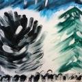 «Зима глазами детей». Фотоотчёт детских рисунков в нетрадиционной технике рисования