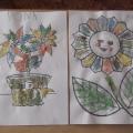Цветы в нетрадиционной технике рисования манной крупой
