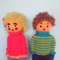 Самодельные вязанные куклы Алечка и Боречка