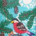«Снегирь» работа из цветной гофрированной бумаги методом тычкавания