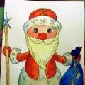 Готовимся к Новому году. Рисуем Деда Мороза.
