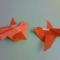 «Птички прилетели». Поделка из бумаги в стиле оригами.