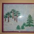 Рисование зимнего пейзажа на стекле.
