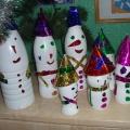 Парад Снеговиков (из пластиковых бутылок)