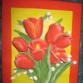 «Тюльпаны»— подарок своими руками к 8 марта (из солёного теста)