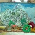 Макет «Деревенский дворик» из газет, для детского сада