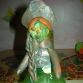 Дымковская игрушка из бутылки и пластилина.