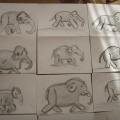 «Слонёнок»— рисование графическим материалом с помощью составленной схемы из геометрических фигур