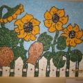 «Подсолнухи»— мозаичная картина из яичной скорлупы