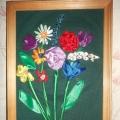 «Весенние цветы». Вышивка лентами