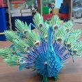 Павлин из бумаги (модульное оригами).