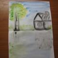 Рисование пейзажа и бабочки по-сырому.