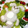 Горячий гарнир из риса «Заяц», фаршированные кальмары «Поросята»