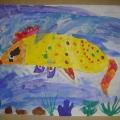 Рисунки детей старшей группы и ясельной группы на тему «Волшебные рыбки» и «Метель».