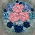 Вышивка лентами «Розы на снегу»