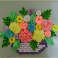 Корзинка с цветами в смешанной технике