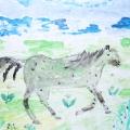 Фоторепортаж. Рисование «Конь на лугу».