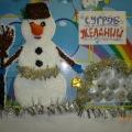 Новогодний «Сугроб Желаний». Снеговик, аппликация методом торцевания.