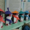 Конструирование из бумаги. Пингвины. Работа с бумагой в технике изготовления цилиндра.