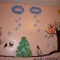 Оформление стены в группе на зимнюю тему.