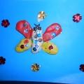 Лепка из пластилина, аппликация на картоне «Бабочка»