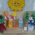 Творческая работа из надувных кубиков (оригами)