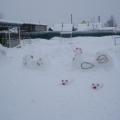 Наши снежные постройки на тему «Кошкин дом»