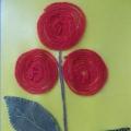 Нетрадиционная техника рисования (ниткография) «Волшебные цветы». Подарок маме.