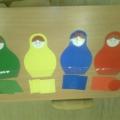 Конспект занятия по сенсорному развитию для детей первой младшей группы «Найдём матрёшкам фигуры по цвету»