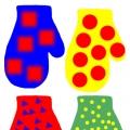 Дидактическая игра «Рукавички» (закрепление цветов, геометрических фигур, понятия одинаковый— разный)