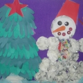 Коллективная работа (аппликация) «Снеговик у елочки»